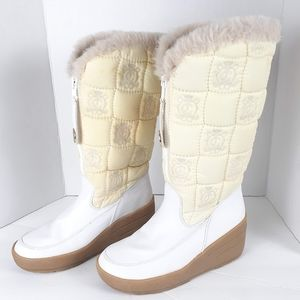 JUICY COUTURE White Everest Quilted Tall Boots 10